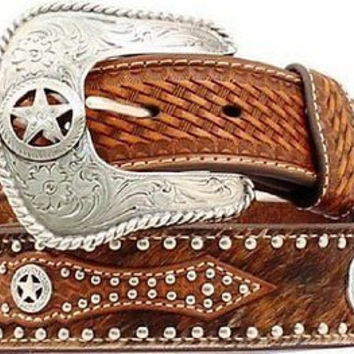 Nocona Men's Western Leather Calf Hair Belt & Star Buckle-Tan