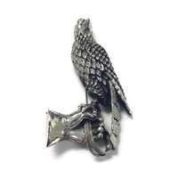 Vintage Brooch, Signed Tortolani Silver Tone Falcon on Falconers Gauntlet Pin