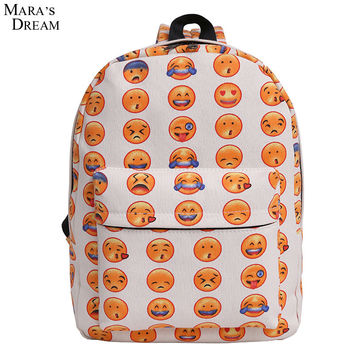 Mara's Dream 2017 Emoji Backpack Pretty Style Women Canvas Emoji Face Printing Double Zipper School Bag For Teenagers Girls