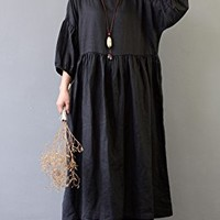 Women's Casual Linen Maxi Dresses 3/4 Sleeve Loose Fitting