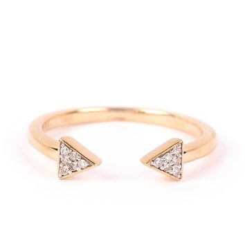 Adina Reyter Pave Double Super Tiny Triangle Ring