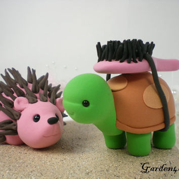 Custom Turtle & Hedgehog Love Wedding Cake Topper with Sand Base - LOVE can find the way--NEW