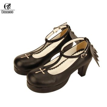 ROLECOS Black Lolita Shoes For Women Devil Angel Wings High Heels Cross T-strap Thick Heel Shoes Round Toe Cosplay Shoes Female