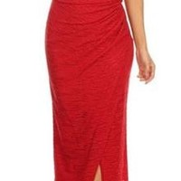 Twilight Moments Red Sparkle Slit Long Evening Dress