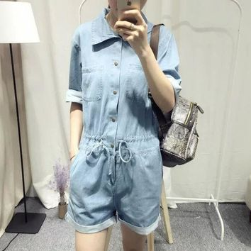 PEAPIX3 Summer Korean Stylish Rinsed Denim Denim Simple Design Romper [4933132292]