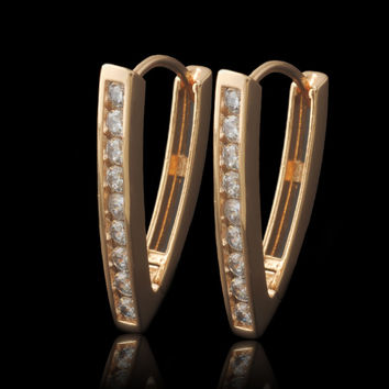 (special price) Hoop Earrings 18K Gold Plated for Women Triangle 2016 New