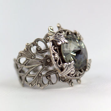 Silver RING for her. Black diamond. Grey Gray, Woman Ladies Whimsical. Casual or Formal, engagement wedding bridal. Spring trends