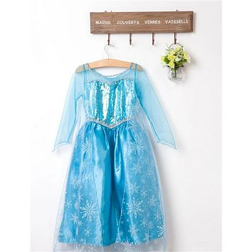 Fancy Princess Blue Evening Dress For Girl Birthday Role-play Children Costume Kids Party Wear Teen Girl Clothes
