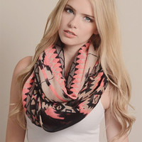 Neon Accent Tribal Infinity Scarf