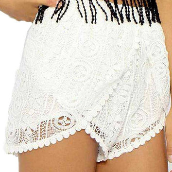 Asymmetric Lace Shorts In White