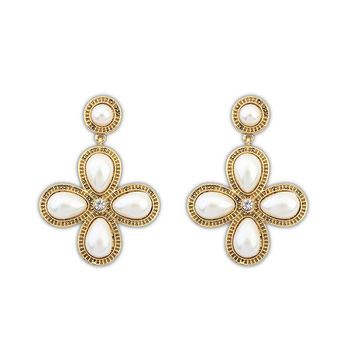 Korean Stylish Lovely Pearls Elegant Leaf Accessory Earrings [4919076676]