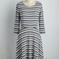 Getting Down to the Knitty Pretty Striped Dress | Mod Retro Vintage Dresses | ModCloth.com