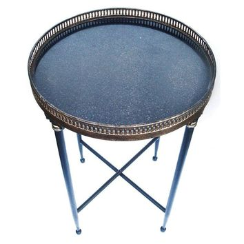 Pre-owned Granite Top Campaign Style Round Side Table