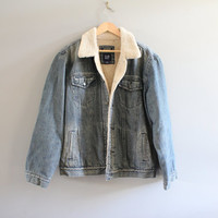 Vintage Shearling Denim Jacket Sherpa Denim Jacket 90s Fleece Grung Biker Hipster Size L #128A