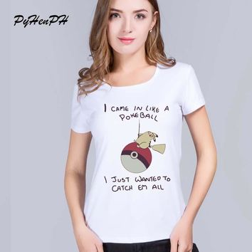 PyHen  Go T-Shirt Women Short Sleeve Funny Cute Pikachu Print women shirts 2016 fashion original top quality blusaKawaii Pokemon go  AT_89_9