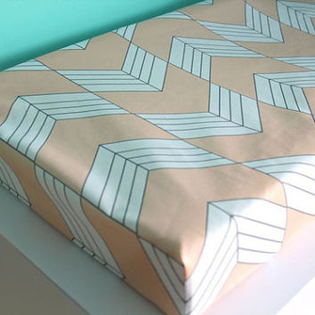 blush stripe chevron fitted changing pad cover