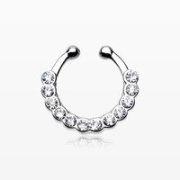 Glistening Multi-Gem Fake Septum Clip-On Ring