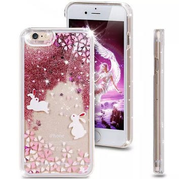 Liquid Glitter Phone Case for Iphone 5 5S (Bunnies)
