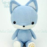 "Bellzi® Cute ""Blue"" w/ White Contrast Fox Stuffed Animal Plush - Foxxi - Made in USA"
