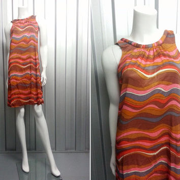 Vintage 60s Op Art Shift Dress Psychedelic Print Horizontal Stripe Sleeveless Mod Dress Gogo Hippy Clothes Crew Neck 1960s Clothing Scooter