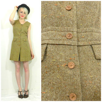 60s vintage wool romper / Button down mod jumpsuit / Green/Tan rainy day outfit / Size medium/Large