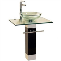 23-inch Bathroom Vanity Set with Clear Glass Sink