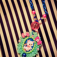 Kitsch Kawaii Kitten Cameo Necklace - One of a Kind Retro Style Accessory