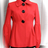 Vintage HELENE BERMAN - Striking Red Wool Jacket - Balloon Sleeve & Bold Button Detail - Made in ENGLAND - Beautiful Condition - Size S