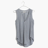 Linen Split-Neck Tank in Stripe