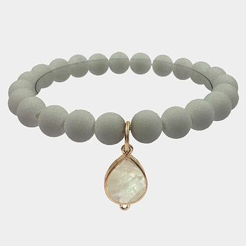 Teardrop Mother Of Pearl Accented Stretch Bracelet