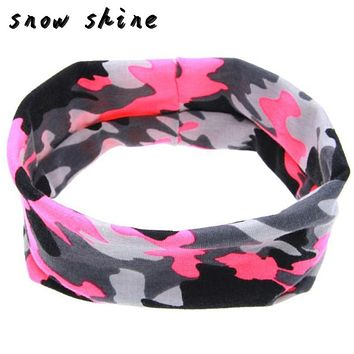 snowshine #3065  Camouflage Hair Ring Elastic Cloth Headband free shipping