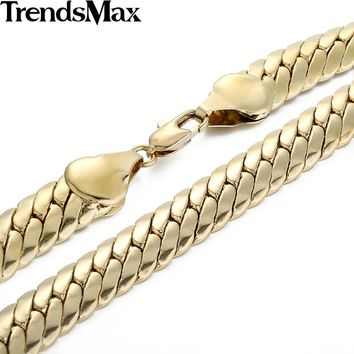 Trendsmax Gold Filled Cuban Necklace Mens Boys Curb Chain Link 11mm 49.5cm Jewelry GN60