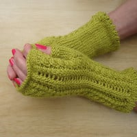 Cable and Lace Fingerless Mittens, Flirty and Ultra-feminine Mitts,  Olive Green Lace Fingerless Mittens, UK Seller