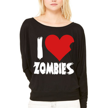 I Heart Zombies WOMEN'S FLOWY LONG SLEEVE OFF SHOULDER TEE