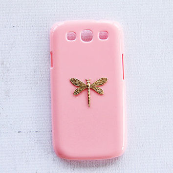 Pink Samsung Galaxy S3 Case S5 S4 Cell Phone Gold and Pink Cases Rare Vintage Handmade Limited Tough Phone Case Light Pink Pastel Color
