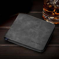 Famous Brand Men Wallets Soft Leather Money Purse Fashion Man Change Purse Horizontal Vertical Wallets Carteira Card Holders