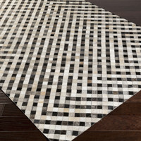 Trail Area Rug | Black Hides and Leather Rugs Hand Crafted | Style TRL1135