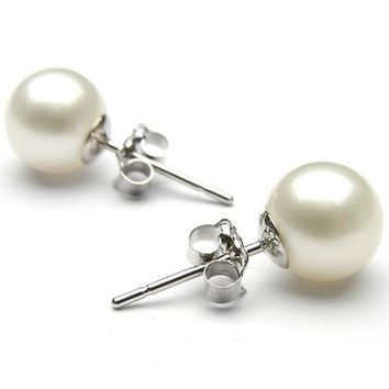 White Freshwater Pearl Stud Earrings silver sterling  Plated 9-10mm