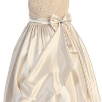 Champagne Satin & Mesh Floral Ribbons Girls Dress with Gathered Front Skirt (Girls 2T - Size 14)