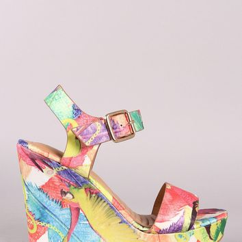 Bamboo Printed Satin Buckle Ankle Strap Platform Wedge