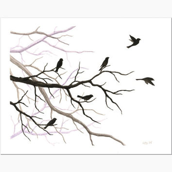 "Original Watercolor Bird Painting, Birds and Branches Silhouette, Grey Nature Art, Gray Home Decor, Bird Art, Black Tree Branch Art 8"" X 10"""