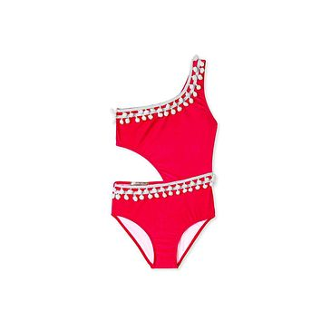 Red Pom Pom Side Cut Out One Piece Swimsuit (Kids)