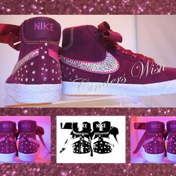 Nike blazers / bling nikes / crystallised nikes / customised sneakers / sparkly sneake