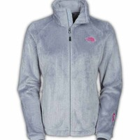 The North Face Pink Ribbon Osito 2 Jacket for Women in High Rise Grey CZ24-A0M