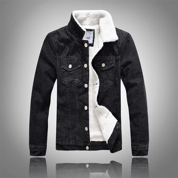 Denim Jacket Fur Collar Men Winter Black Male Bomber Jacket Jeans Jacket Men Fashion Plus Size With White Faux Leanther Fleece