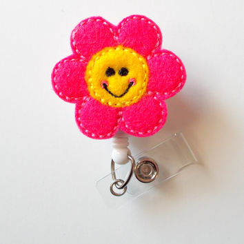 Happy Flower - Retractable ID Badge Reel - MD Badge Holder - Cute Badge Reel - Nurse Badge Holder - Nursing Badge Clip - Teacher Badge
