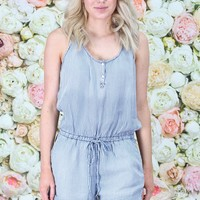 Chambray Stipes Romper {L. Blue}