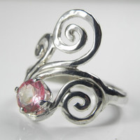 Swirl Ring  Pink Topaz Wave Ring  Unique Pink by FantaSeaJewelry