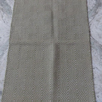 Hand Woven Area Rug, Cotton Durrie, Size : 2 x 3 Feet, Green Color Theme, Geometrical Pattern, Handmade Carpet, Reversible