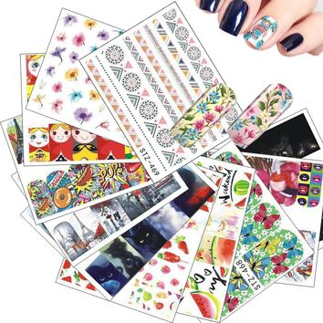15pcs Mixed Water Transfer Sticker Nail Art Decals Sets Russian Doll Beauty Flower Water Tattoos DIY for Polish Gel STZ455-469